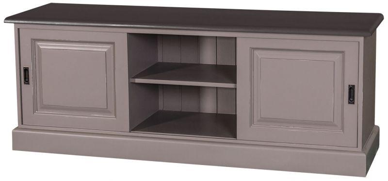 Meuble t v portes coulissantes patin en ch ne massif ou en pin massif pei - Comment relooker un meuble en chene ...
