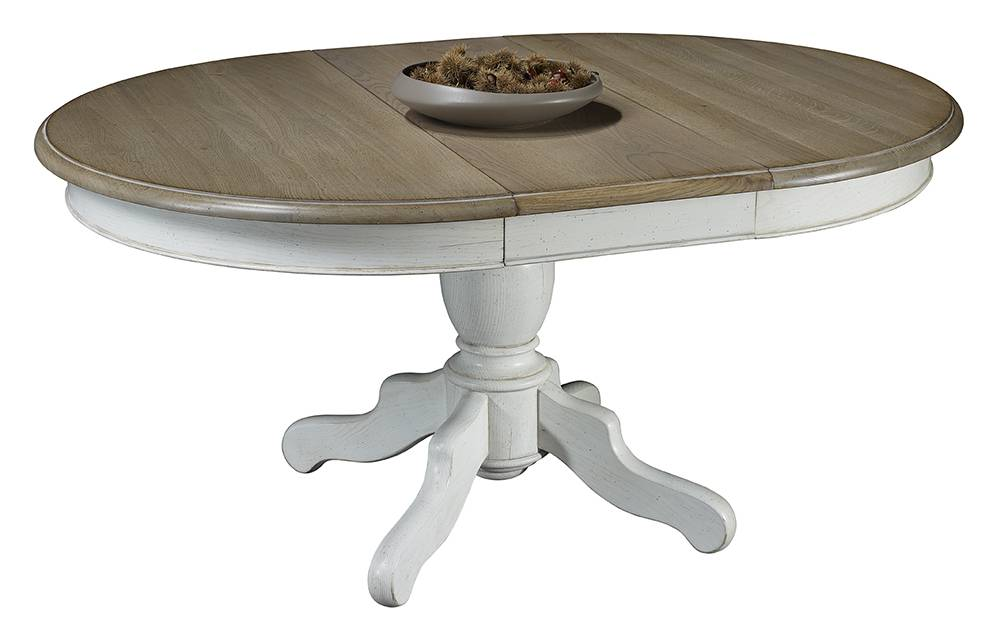Table de salle manger ronde pied central plateau ch ne - Table pied central avec allonge ...