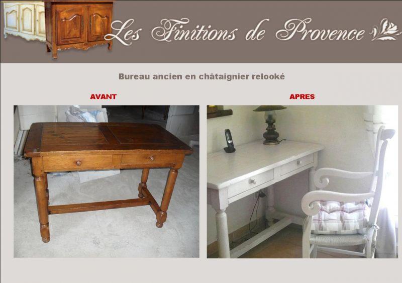 bureau en ch taignier massif relook istres finition. Black Bedroom Furniture Sets. Home Design Ideas