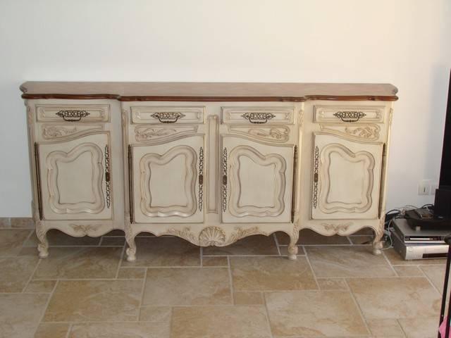 D capage peinture et patine d 39 une salle manger en noyer - Peinture meuble sans decapage ...