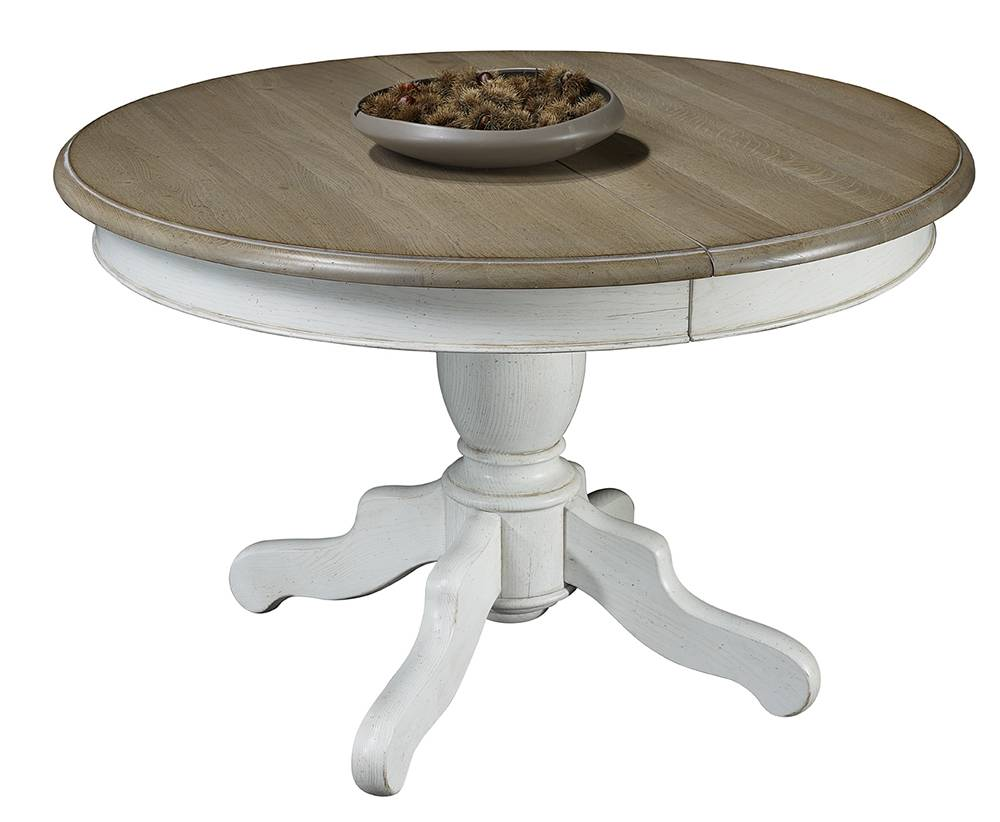 Table de salle manger ronde pied central plateau ch ne - Table ronde avec allonges ...