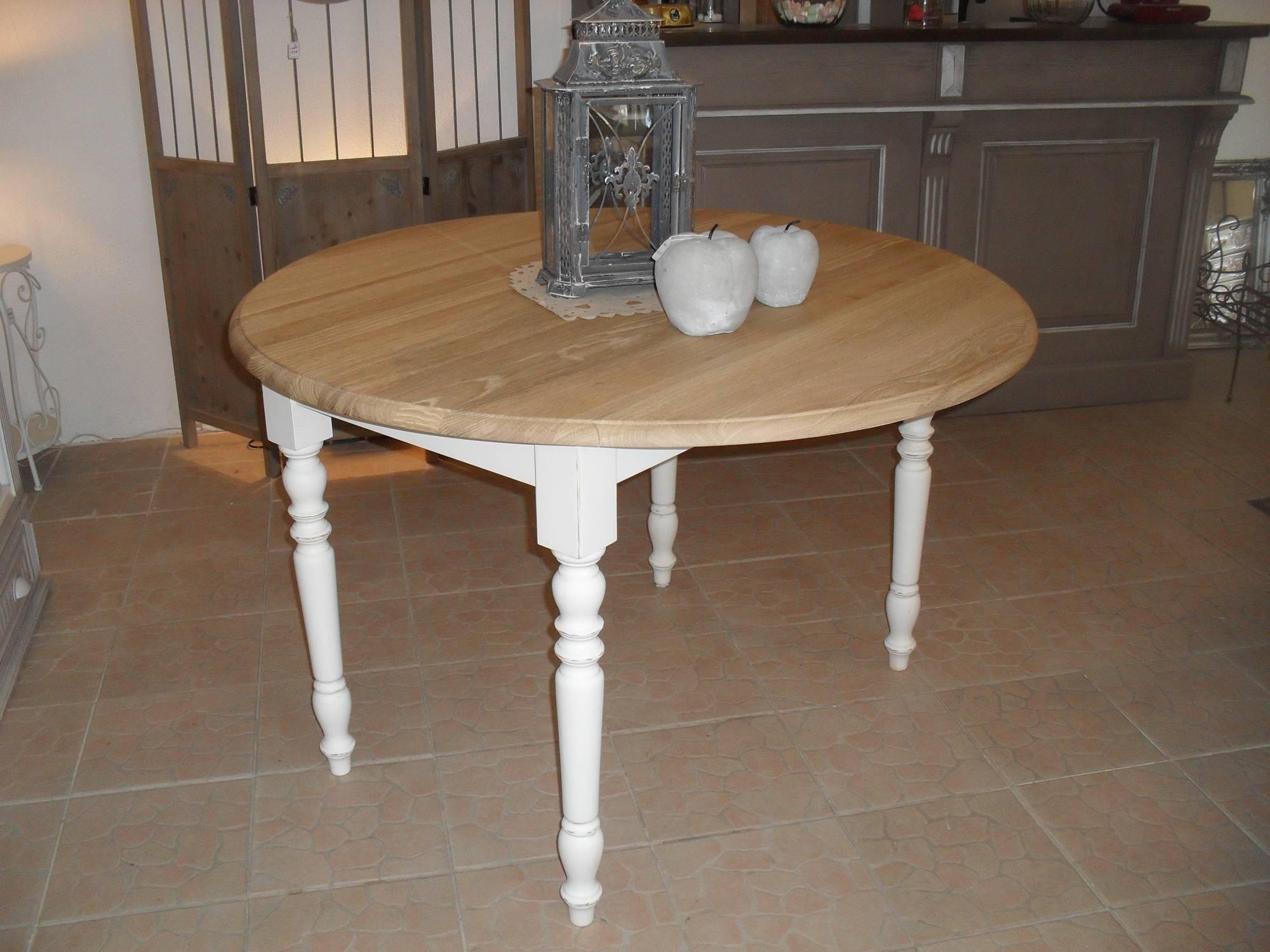Relooker Une Table En Bois table ronde fixe à volets plateau chêne massif effet brut